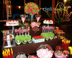 Candy bar para XV Años, barra de dulces, mesa de dulces www.facebook.com/delisweetcandybar