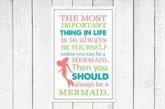 Mermaid  Print - Mermaid Decor - Nautical Nursery Print - Custom size and colors Canvas Available