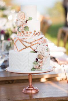 Erin & Morris' Outdoor South Shore Wedding via Elegant Productions | Modern Copper Geometric Cake with Sugar Flowers