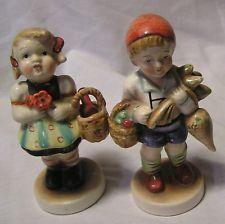 Occupied Japan (Girl Has Basket & Boy Has Baskett And Turnips)Figurine