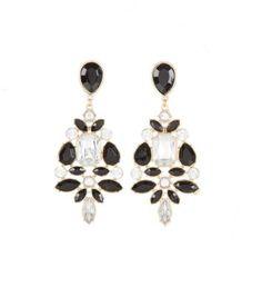 Black and Clear Gemstone Diamond Chandelier Earrings