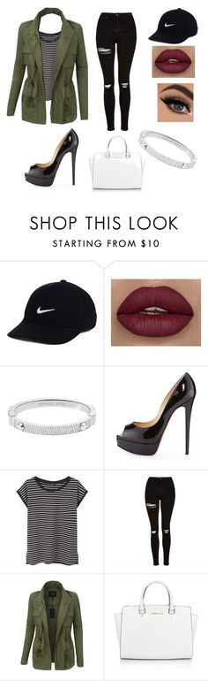 """""""Untitled #2"""" by dhxrmxlxg ❤ liked on Polyvore featuring NIKE, Michael Kors, Christian Louboutin, MANGO, Topshop, LE3NO and stripedshirt"""