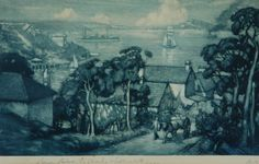 The Harbour from Mosman 1911 by Lionel Lindsay. Etching and mezzatint 13/30, inscribed to Charles Westmacott Oct. 1917.