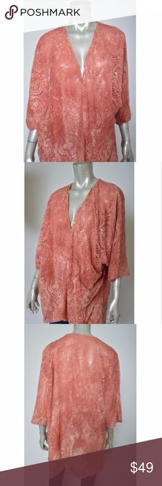 Calypso St Barth Coral Lace Open Kimono Cardigan Calypso St Barth Coral Lace Lined Open Front Draped Cardigan Kimono One Size Total length is 33 inches. Bust is 64 inches, unstretched Excellent condition Calypso St. Barth Sweaters Cardigans