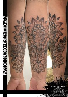 Abstrakter Elefant (Kopf) Tattoo / Mandala & Rosen Tattoo / Unterarm Tattoo // Abstract Elephant (Head) Tattoo / Mandala & Roses Tattoo / Forearm Tattoo