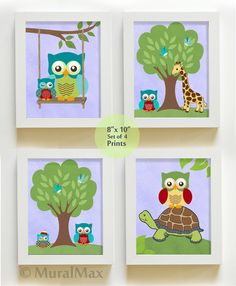 Owl Nursery  Art for Children  Set of four 8x10  Boy by MuralMAX, $48.00