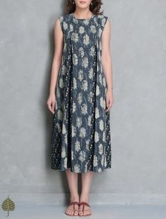 Indigo-Off White Block Printed Cotton Kali Dress by Jaypore