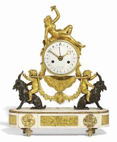 c1790 A LOUIS XVI WHITE MARBLE, ORMOLU AND PATINATED BRONZE STRIKING AND CALENDRICAL MANTEL CLOCK: 'LOVE'S TRIUMPH' FOLIN L'AINÉ, PARIS. CIRCA 1790 Price realised GBP 6,875