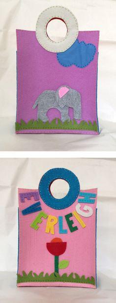 Borsa con elefante, fronte e retro