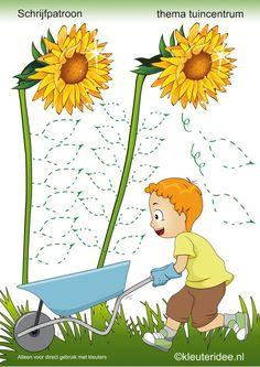 Schrijfpatroon thema tuincentrum , juf Petra van kleuteridee ,preschool writing pattern free printable.