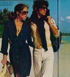 """Lois Chiles & Sam Waterston who co-starred on """"The Great Gatsby"""" as Jordan Baker and Nick Carraway in 1974, were photographed on the impressive beaches and settings of La Romana, on the Dominican Republic by famed fashion photographer Chris von Wangenheim on 1973."""