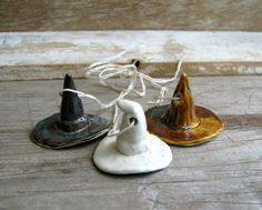 Witch Hat Ornaments. (made with Sculpy clay)
