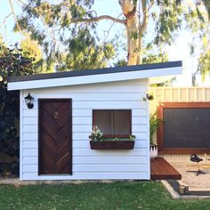 Kicking off the first weekly Cubby House Inspo for 2018 - with this amazingness which belongs to the gorgeous fam and… Modern Playhouse, Backyard Playhouse, Build A Playhouse, Backyard Playground, Backyard For Kids, Toddler Playhouse, Kids Playhouse Plans, Backyard Cabin, Girls Playhouse