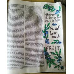 """John 15:5. """"I am the vine; you are the branches. Whoever abides in me and I in him will bear much fruit for apart from me you can do nothing."""" #biblejournaling #biblejournal #biblejournalingcommunity by cortneyrosie"""