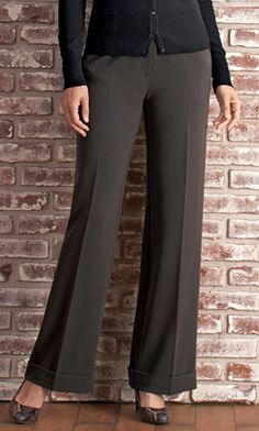 """City Trouser by Long Elegant Legs. 36"""" inseam. - would remove the cuff Clothing For Tall Women, Clothes For Women, Women's Clothes, Long Elegant Legs, Tall Pants, Trouser Outfits, Professional Attire, Trousers Women, Winter Collection"""