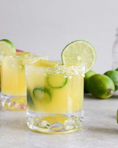 Mango Jalapeño Margaritas YIELD: FOR ONE MARGARITA, CAN EASILY BE MULTIPLIED ingredients: 2 ounces Grand Marnier 1 1/2 ounces jalapeño tequila 2 ounces lime juice 2 1/2 ounces mango simple syrup 1/2 mango, peeled and chopped 2 jalapeño peppers, sliced salt for the rim lime wedges