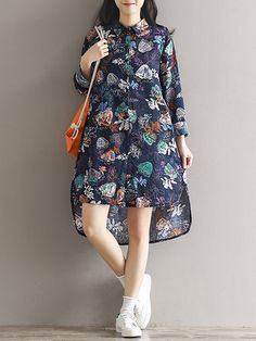 Plus Size Women Floral Beach Loose Dress Long Sleeve Turn Down Collar Shirt  Dress Collared Shirt ed066982a6bf