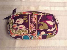 Vera Bradley PLUM CRAZY Cosmetic Case Travel Bag With Mirrored Outer Compartment #VeraBradley #CosmeticBags