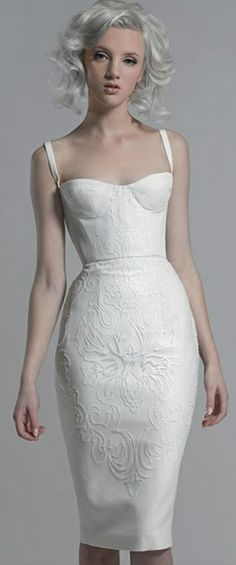 8d3b670cb0 Got a wardrobe change in your timeline  Check out this baby  Paolo  Sebastian white corset dress with sequin motif embroidery.