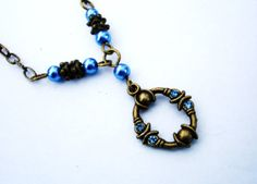 Blue necklace light blue with pearls and crystals in by firesky7, $15.99