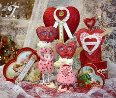 A Valentine's Day vignette made up of Debra Schoch figures, Bethany Lowe hearts, Dee Foust Crowns and a Heather Myers Heart Finial!