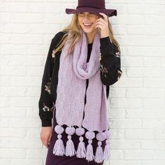 Purple Knit Super Scarf | AllFreeKnitting.com