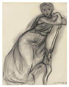 Henri Matisse - Femme Assise, 1938. Charcoal.