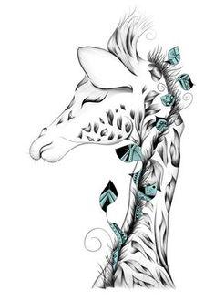 Animal Drawings, Art Drawings, Giraffe Art, Baby Giraffe Tattoo, Cute Giraffe Drawing, Art Graphique, Print Artist, Body Art Tattoos, Giraffes