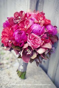 Hot Pink Bouquet #wedding www.BlueRainbowDesign.com
