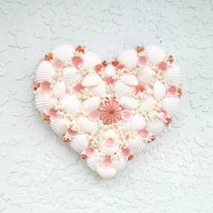 Shell Heart, Valentine Wall Hanging with Seashells,Pink and White Heart,Valentine gift,coastal valentine,mothers day gift,baby baptism gift by SandisShellscapes on Etsy