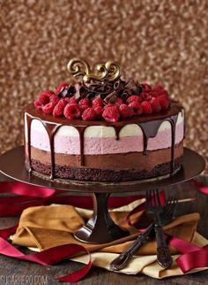 Chocolate Raspberry Mousse Cake | SugarHero.com