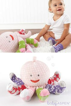 Oceans of fun and two gifts in one! Mrs. Sock T. Pus brings baby four pair of snazzy socks, and then stays to play and snuggle with her new friend! http://timelesstreasure.theaspenshops.com/product/mrs-sock-t-pus-plush-octopus-with-4-pairs.html
