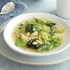 Green Vegetable Soup with Lemon-Basil Pesto | CookingLight.com