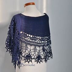 Crochet shawl scarf lace merino wool Navy Blue M258 by Berniolie https://www.facebook.com/Berniolie-440248762699969/?ref=hl
