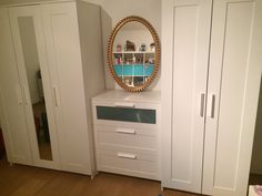 Ikea Brimnes combination with an old golden mirror