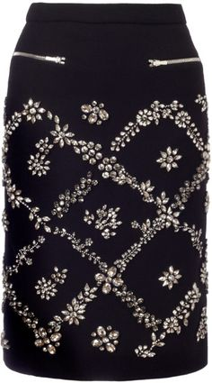 Preen by Thornton Bregazzi Black Swarovski Dotty Skirt
