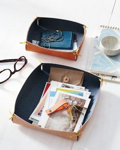 Fabric-and-Leather Catchall, Martha Stewart Living Sept '14