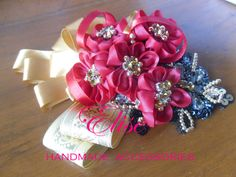 headpiece party .. 5 flowers with gold ribbon .