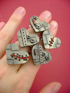 Flat Little Industrial Heart Adjustable Ring  by monsterkookies, $12.00