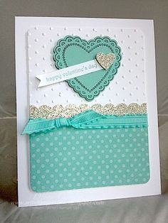 Card Recipe: Stamps- Hearts a Flutter; Paper- Whisper White, Pool Party, silver glimmer paper, In Color designer paper stack; Ink- black StazOn, Pool Party; Accessories- Pool Party ruffled ribbon, Hearts a Flutter framelits dies, small heart punch, scallop edge border punch, Perfect Polka Dots embossing folder, dimensionals
