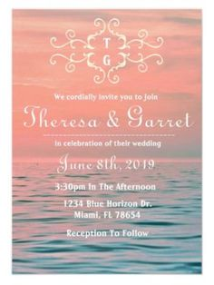 Pink and Blue Ombre Ocean Water Tropical Wedding Invitation