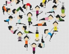Yoga-heart-Cross stitch pattern pdf format,Instant Download