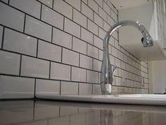 White Brick Tile Splashback with grey grout