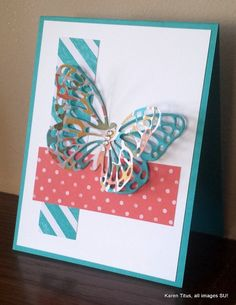The Butterflies Thinlits die makes a double butterfly on this pretty card also featuring the Birthday Bash DSP.