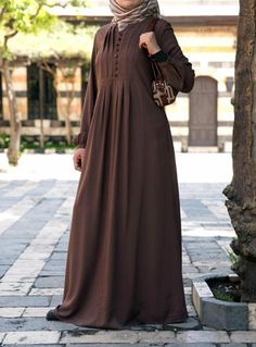 SHUKR's Carefree Rayon Abaya Dress...wish the button placket was real, love it in brown!