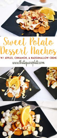Baked sweet potatoes, sliced thin, topped with homemade vanilla marshmallow creme, diced apples (soaked in fresh orange juice), cinnamon and orange zest. Sweet Potato Dessert, Dessert In A Mug, Sweet Potato Nachos, Cute Food, Yummy Food, Sweets Recipes, Party Recipes, Dessert Nachos, Healthy Vegetable Recipes