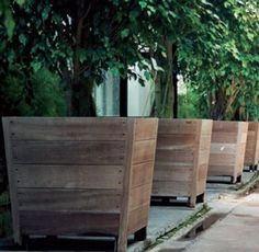 outdoor wooden planter boxes tree planters i would add wheels so you can take them with you when you raised planter outdoor wooden flower boxes Large Wooden Planters, Tree Planters, Wooden Garden Planters, Wood Planter Box, Raised Planter, Large Planters For Trees, Large Planter Boxes, Large Outdoor Planters, Vertical Planter