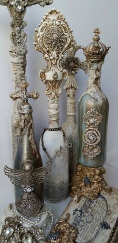 Decorative Bottles : Michelle Butler Designs -Read More – - Antique Perfume Bottles, Recycled Bottles, Vintage Bottles, Bottles And Jars, Glass Bottles, Painted Bottles, Wine Bottle Art, Diy Bottle, Bottle Vase