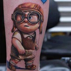 Tattoo Comic little man Weird Tattoos, Cartoon Tattoos, Up Tattoos, Life Tattoos, Body Art Tattoos, Amazing Tattoos, Tatoos, Walt Disney, Comic Book Tattoo