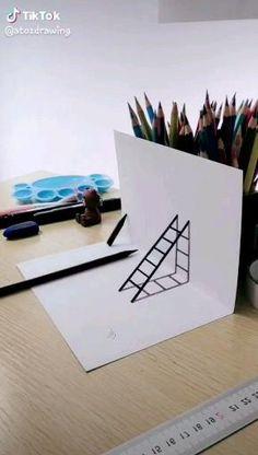3d Art Drawing, Art Drawings Sketches Simple, Pencil Art Drawings, Easy Drawings, Doodle Art Designs, Diy Canvas Art, Art Tutorials, Diy Art, Art Lessons